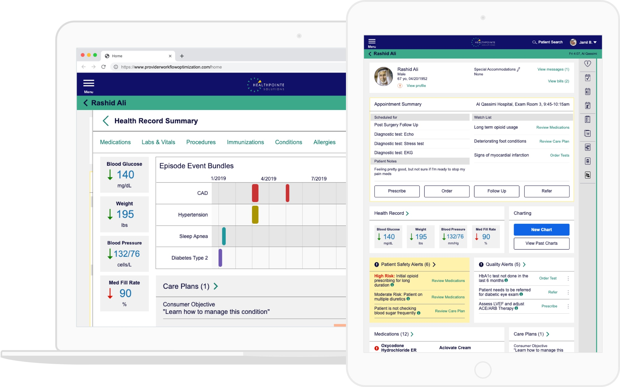 Screens from Clinic 360 showing a patient's appointment and health record summary.