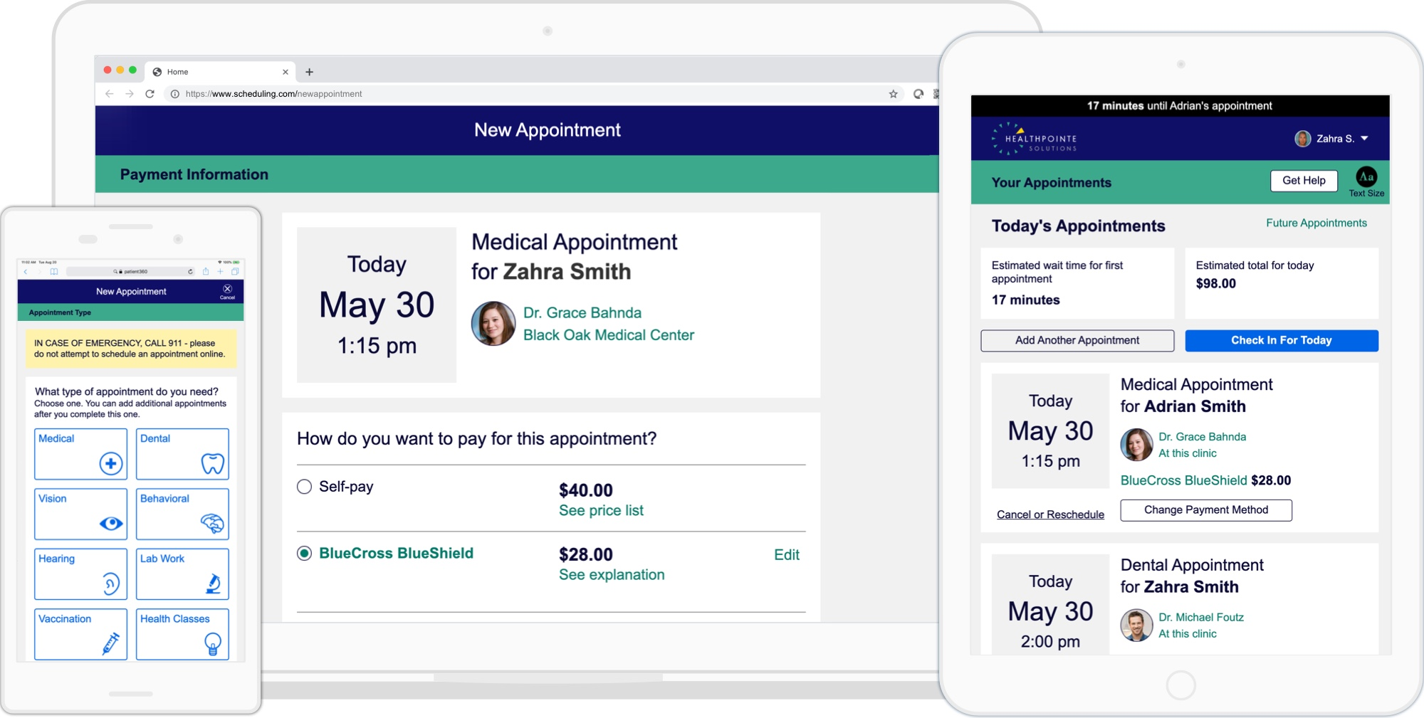 Screens from scheduling application showing appointment types, payment options and today's scheduled appointments.