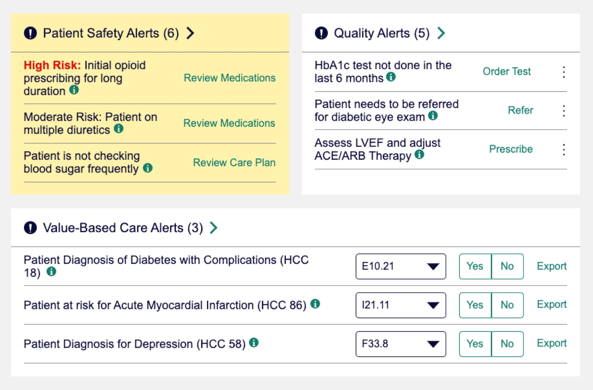 Screen from Clinic 360 showing Patient Safety Alerts, Quality Alerts and Value Based Care Alerts for an individual patient.